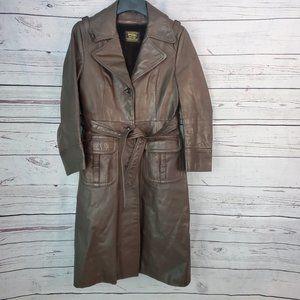 Vintage Spiegel Leather Trench Coat Jacket 13/14